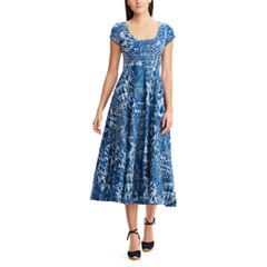 Women's Chaps Tropical Fit & Flare Midi Dress