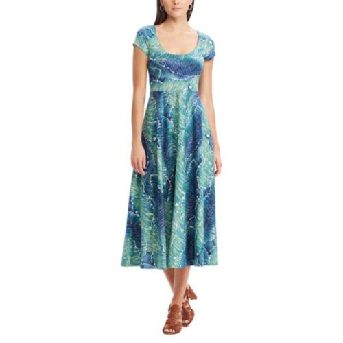 Women S Chaps Tropical Fit Flare Midi Dress