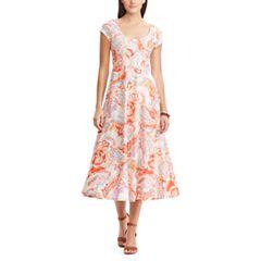 Women's Chaps Tropical Fit & Flare Midi Dress