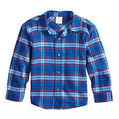 Toddler Boy Jumping Beans® Plaid Flannel Button Down Shirt