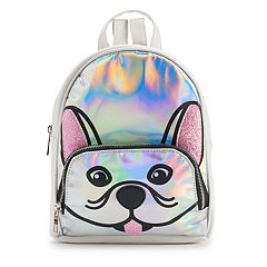 OMG Accessories Glitter French Bulldog Face Hologram Mini Backpack