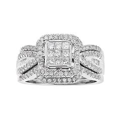 10k White Gold 1 Carat T.W. Diamond Square Halo Engagement Ring
