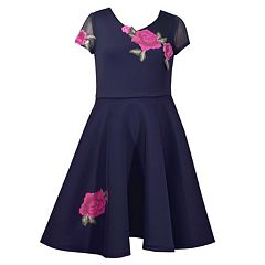 Girls 7-16 Bonnie Jean Floral Applique Scuba Dress