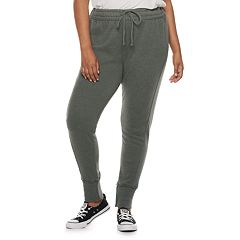 Juniors' Plus Size SO® Ribbed Cuff French Terry Jogger Pants