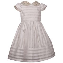 Girls 7-16 Bonnie Jean Striped Beaded Collar Dress