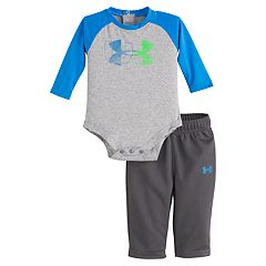 Baby Boy Under Armour Raglan Logo Bodysuit & Pants Set