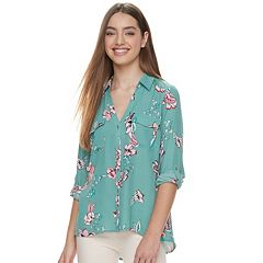 Juniors' Candie's® Printed Lace Blouse