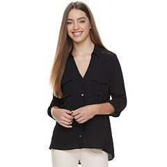 Juniors' Candie's® Solid Lace Crepe Blouse