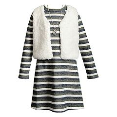 Girls 4-6X Youngland Long Sleeve Brushed Knit Dress & Faux Fur Vest Set