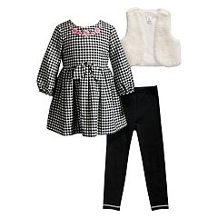 Girls 4-6x Youngland Checkered Dress, Sherpa Vest & Leggings Set