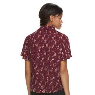 Juniors' Rewind Printed Tie-Front Shirt