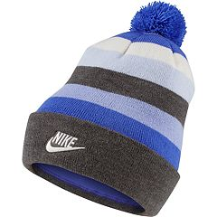 Women's Nike Striped Beanie with Removable Pom-Pom