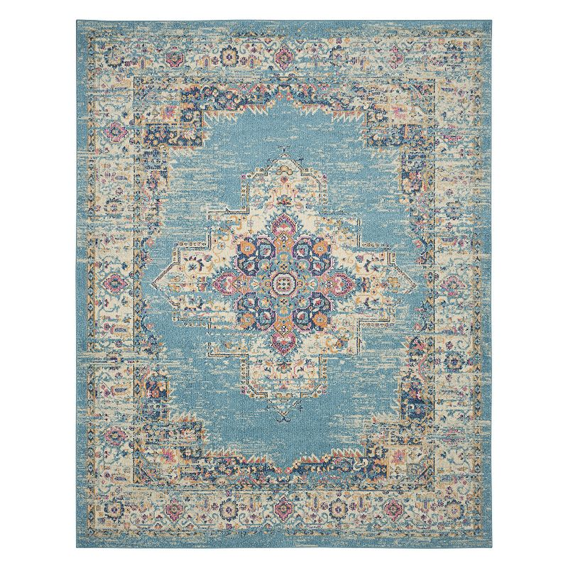 Nourison Passion Bohemian Vintage Rug, Light Blue, 2X6 Ft