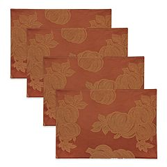 Celebrate Fall Together Solid Orange Placemat 4-pack