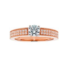14k Gold Round Cut 3/4 Carat T.W. IGL Certified Diamond Engagement Ring