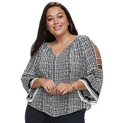 Plus Size Jennifer Lopez Strappy Crepe Peasant Top