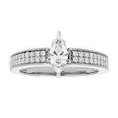 14k Gold Marquise Cut 3/4 Carat T.W. IGL Certified Diamond Engagement Ring