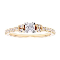 14k Gold Princess Cut 3/4 Carat T.W. IGL Certified Diamond Engagement Ring