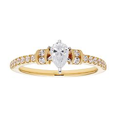 14k Gold Pear Cut 3/4 Carat T.W. IGL Certified Diamond Engagement Ring