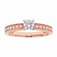 14k Gold IGL Certified Round Cut 1/2 Carat T.W. Diamond Engagement Ring