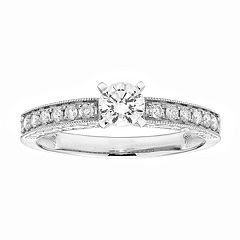 14k Gold IGL Certified Round Cut 1/2 Carat T.W. Diamond Engagement Ring