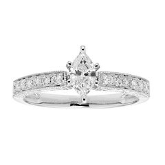 14k Gold IGL Certified Marquise Cut 1/2 Carat T.W. Diamond Engagement Ring