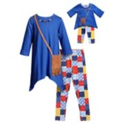 Girls 4-14 Dollie & Me Tunic Top, Patchwork Printed Leggings & Fringe Purse Set