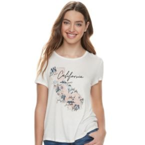 Juniors' About A Girl Sketchy Map State Tee