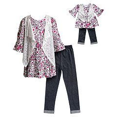 Girls 4-14 Dollie & Me Floral Bell Sleeve Dress, Faux Denim Leggings & Lace Vest Set