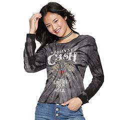 Juniors' Tie-Dye Johnny Cash Tee