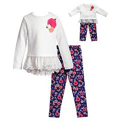 Girls 4-14 Dollie & Me Lace Trim Top & Floral Printed Leggings Set