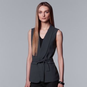 Petite Simply Vera Vera Wang Belted Woven Vest