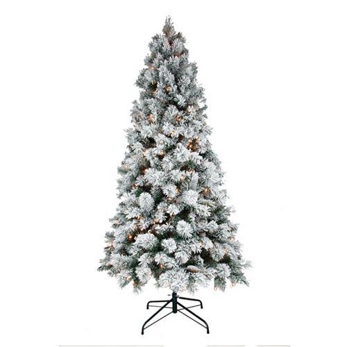 St Nicholas Square 7 Ft Flocked Pine Pre Lit Artificial Christmas