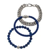Men's Stainless Steel Blue Glass Beaded, Leather & Curb Chain Bracelet Set