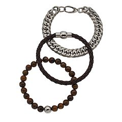 Men's Stainless Steel Lab-Created Tiger's-Eye Beaded, Leather & Curb Chain Bracelet Set