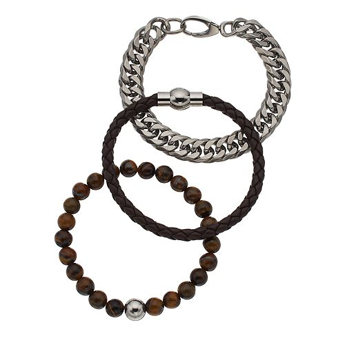 f621f19b00f21 Men's Stainless Steel Lab-Created Tiger's-Eye Beaded, Leather & Curb Chain  Bracelet Set