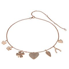14k Rose Gold Over Silver Cubic Zirconia Charm Choker Necklace