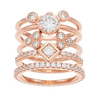 14k Rose Gold Over Silver Cubic Zirconia Stack Ring Set