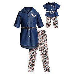 Girls 4-14 Dollie & Me Chambray Shirt Dress, Leggings & Belt Set & Matching Doll Outfit