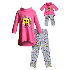 Girls 4-14 Dollie & Me Emoji Print Tunic Top & Printed Leggings Set