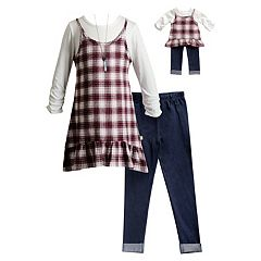 Girls 4-14 Plaid Mock-Layer Tunic, Jeggings & Necklace Set