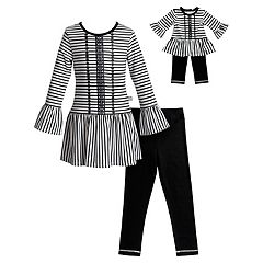Girls 4-14 Dollie & Me Striped Tunic Top, Leggings & Purse Set