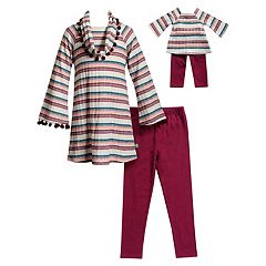 Girls 4-14 Dollie & Me Pom Trim Striped Top & Leggings Set