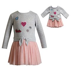 Girls 4-14 Dollie & Me Sweater & Tulle Dress & Matching Doll Dress