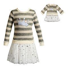 Girls 4-14 Dollie & Me Striped Crown Dress Set