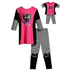 Girls 4-14 Dollie & Me Cat Tunic Top & Leggings Set