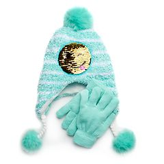 Girls 4-16 SO® Flip Sequin Emoji Hat & Gloves Set