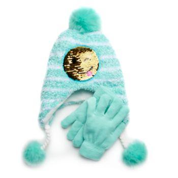 Girls 4-16 SO® Flip Sequin Emoji Hat & Gloves Set