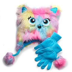 Girls 4-16 SO® Faux-Fur Critter Hat & Gloves Set