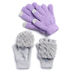 Girls 4-16 SO® Faux-Fur Mitten Top Gloves & Chenille Tech Touch Gloves Set